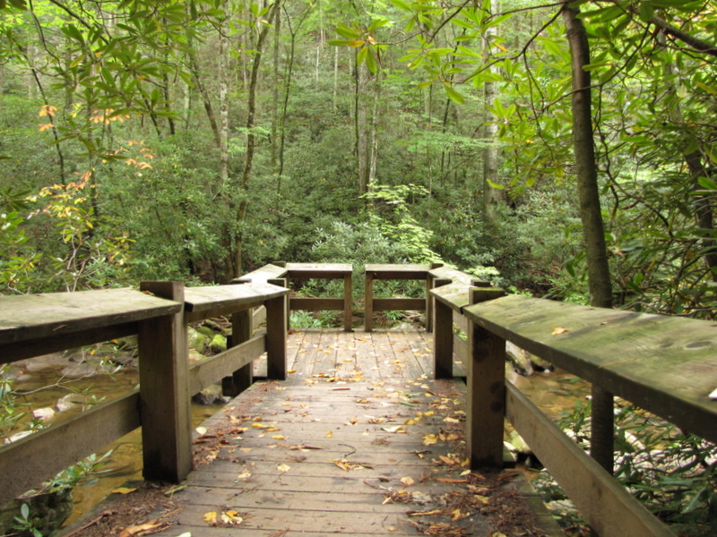 Wooden overlook on the Jacob Fork river